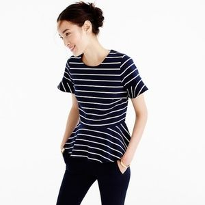 J. Crew Structured Peplum Top In Stripe